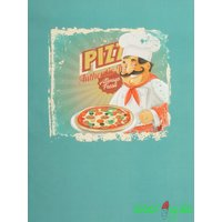 Jersey Stoff Panel Pizza auf petrol 70 cm lang