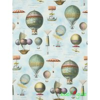 Baumwolle Stoff Canvas hellblau Digitaldruck Ballons...
